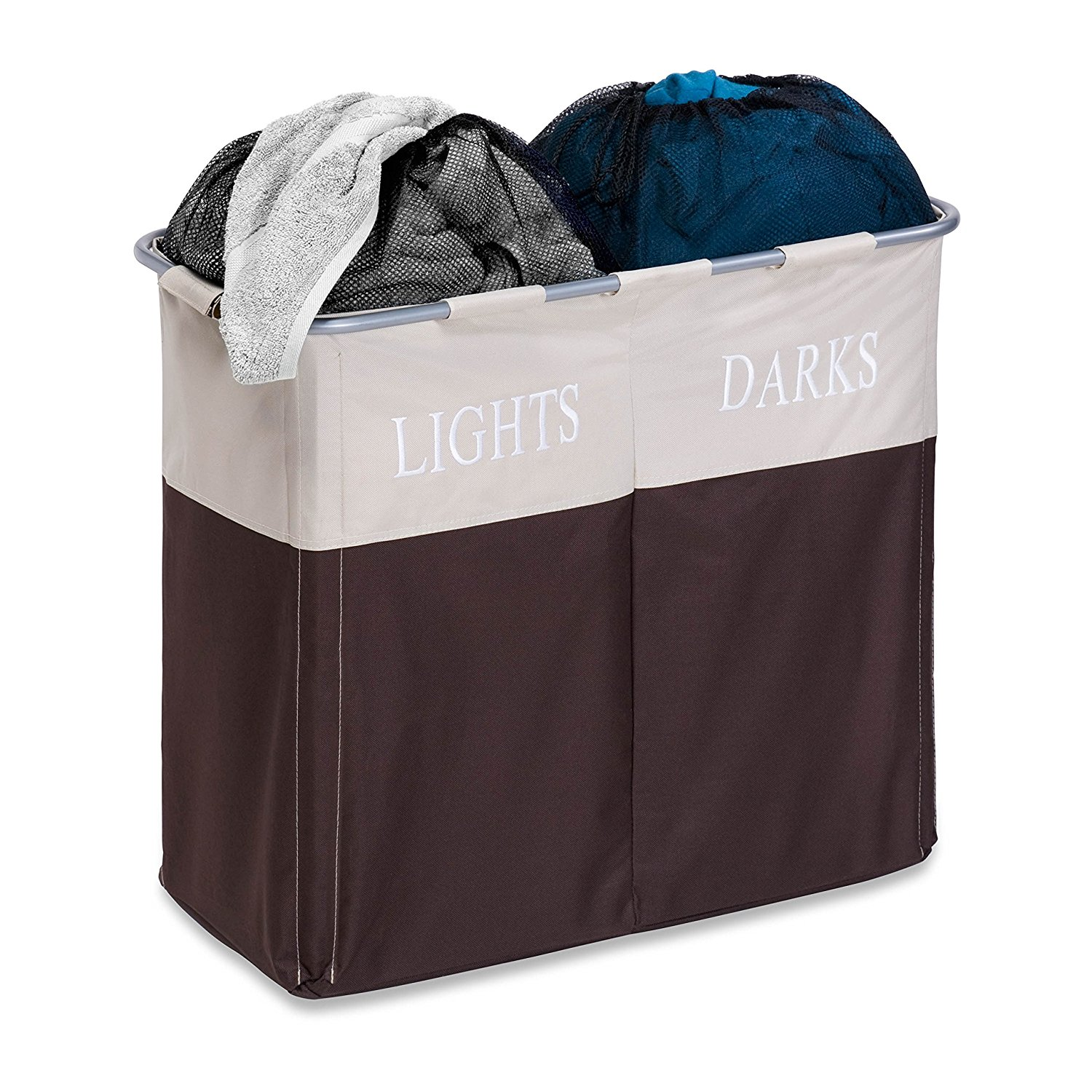 honey-can-do dual compartment lights and darks hamper, dual sorting hamper, best laundry hampers for nursery, laundry hampers for nursery, neutral laundry hamper, best laundry hamper, stylish laundry hamper, affordable laundry hamper, best nursery hampers, nursery hampers