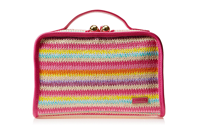 Image of brightly colored woven makeup  bag