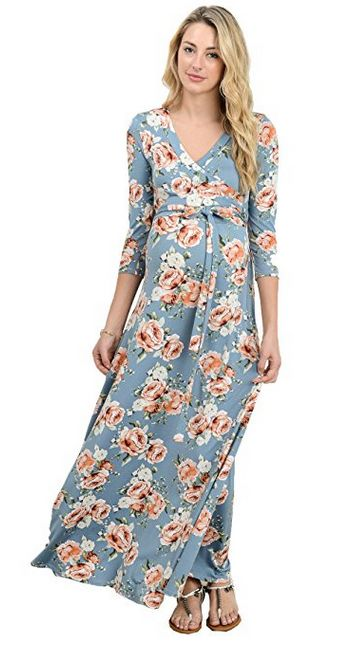 laclef women's floral print three-quarter sleeve maternity maxi dress, floral print maternity dress, best floral print maternity dress, floral print maxi dress, best floral print maxi dress, maternity maxi dress, best maternity maxi dress, cute maternity outfits, best maternity style, comfortable maternity style, affordable maternity style