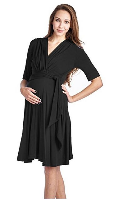 LaClef Women's Front Tie Nursing Friendly Baby Shower Wrap Maternity Dress, best maternity wrap dress, maternity wrap dress, best maternity nursing dress, maternity nursing dress, best black maternity dress, black maternity dress, best long sleeve maternity dress, long sleeve maternity dress