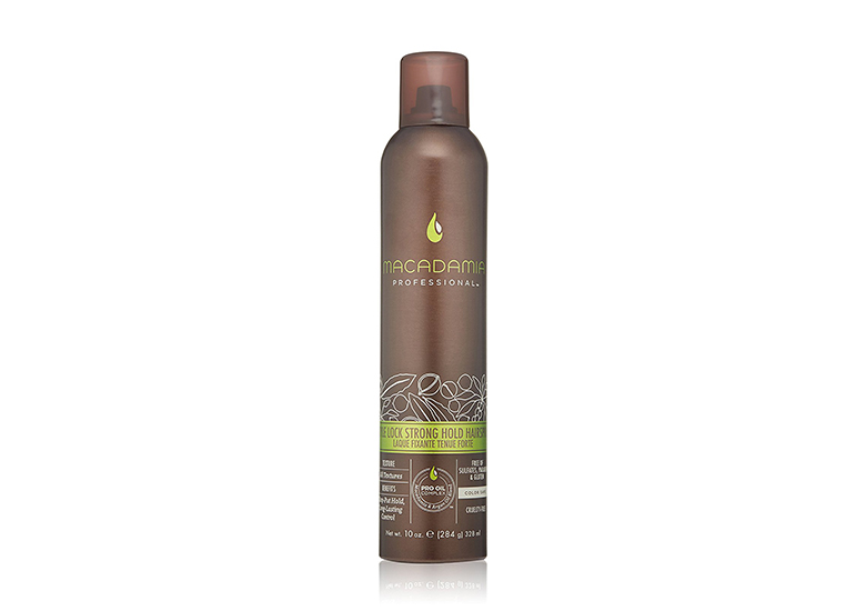 Image of brown can of hair spray with green Macadamia Professional logo