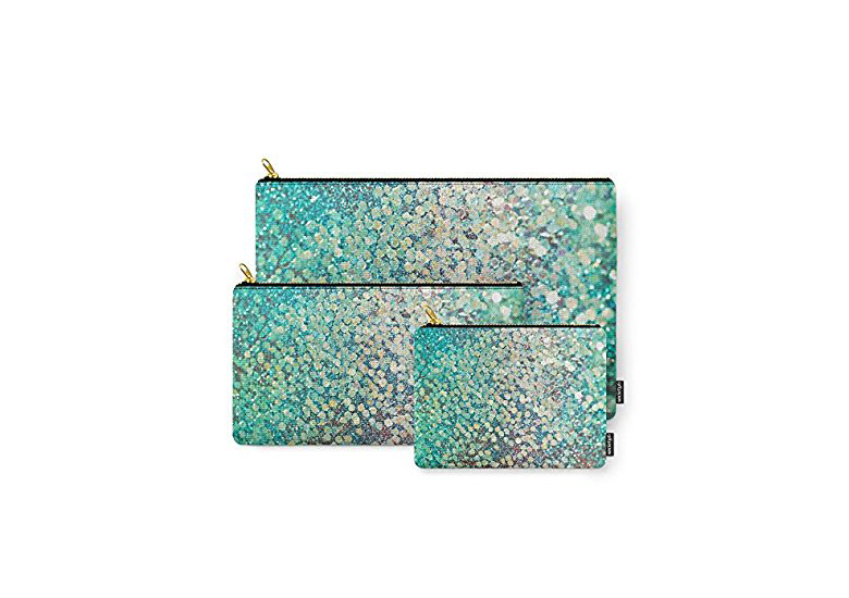 Image of turquoise makeup bags with mermaid scales