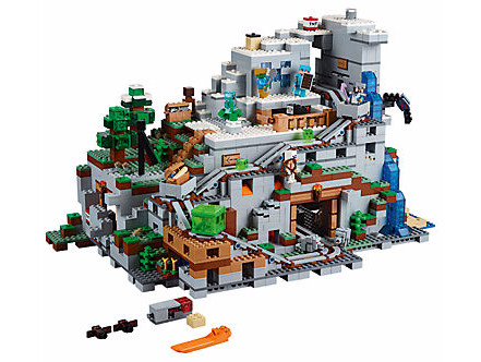 minecraft lego, lego minecraft, lego minecraft the mountain cave