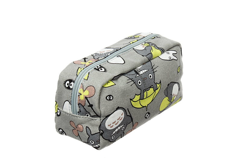 Image of grey zip up bag with Totoro cartoon characters