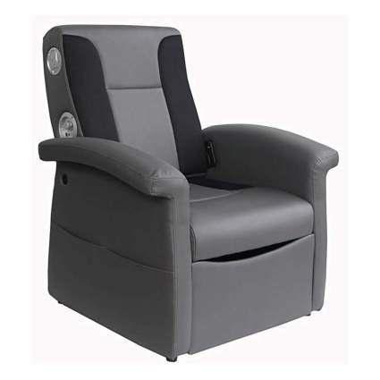 gray recliner with speakers and storage