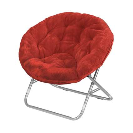 red faux fur saucer chair