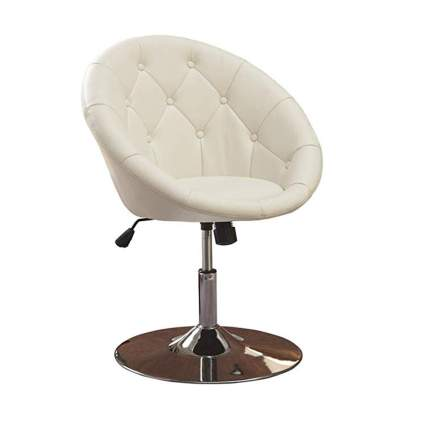 white tufted round swivel chair