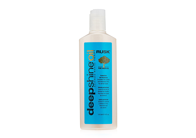 Tall white shampoo-style bottle with bright blue label