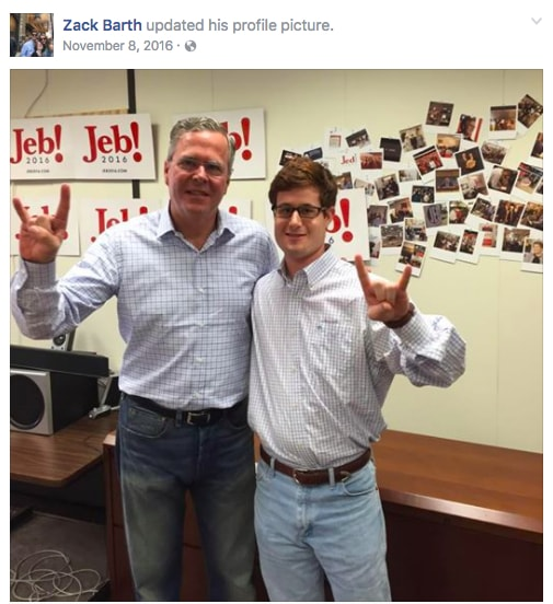 Zack Barth Jeb Bush, Zack Barth Jeb Bush staffer, Zack Barth shooting