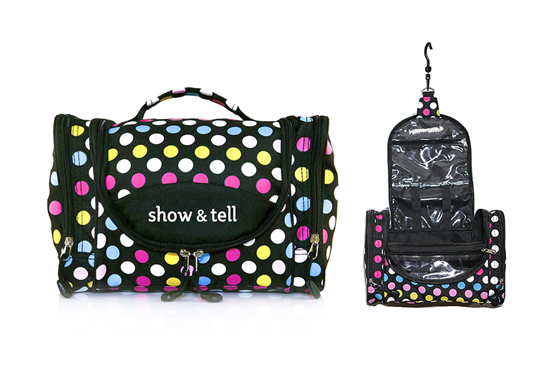 Image of black makeup bag with brightly colored polka dots