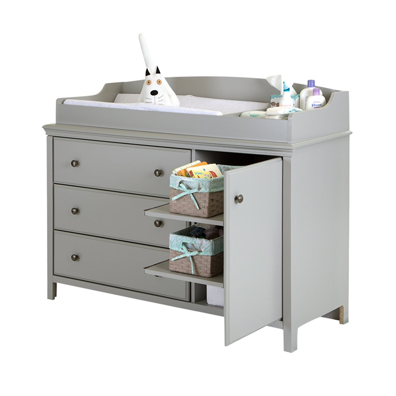 south shore cotton candy changing table with removable changing station, best changing tables with drawers, changing tables with drawers, gray changing table, wood changing table, modern changing table, stylish changing table