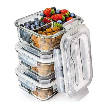 three pack of glass bento boxes