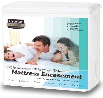 waterproof mattress protector, waterproof mattress protector for bedwetting, mattress encasement
