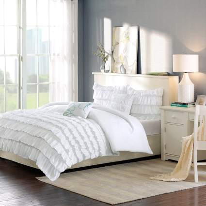 cute dorm bedding, ruffle bedding