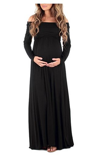 mother bee Women's Cowl Neck and Over The Shoulder Ruched Maternity and Nursing Dress, best nursing maternity dress, nursing maternity dress, long-sleeved maternity dress, best long-sleeved maternity dress, maxi maternity dress, best maxi maternity dress, off-the-shoulder maternity dress, black maternity dress, best black maternity dress