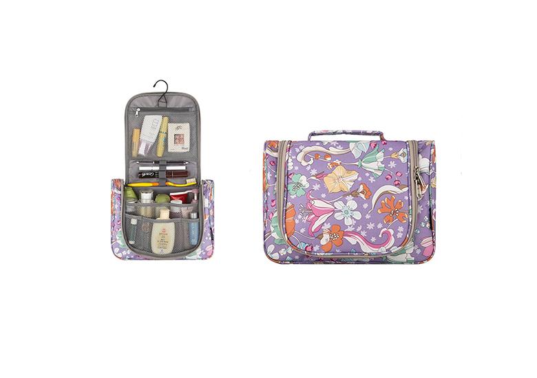 Image of purple floral makeup bag