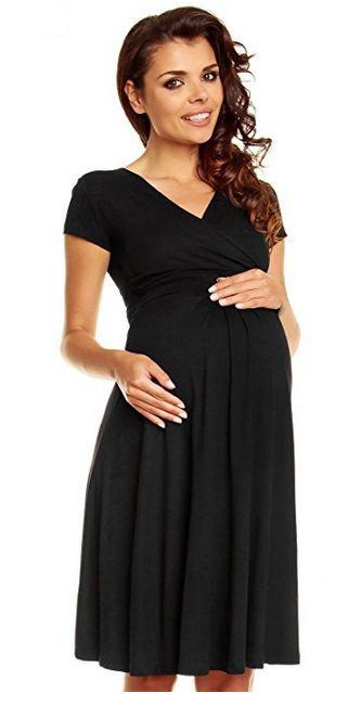 Zeta Ville Women's Maternity Wrap V-neck Summer Dress, best black maternity dress, black maternity dress, summer maternity dress, best summer maternity dress, short sleeve maternity dress, maternity wrap dress, best maternity wrap dress