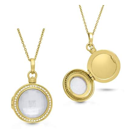 gold plated diamond and mother of pearl round locket