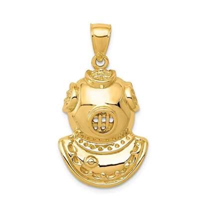 yellow gold dive helmet pendant