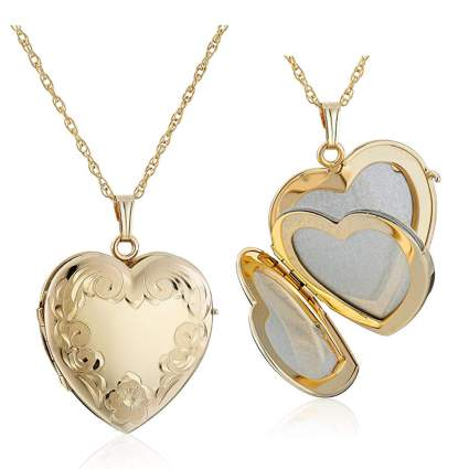 gold four picture heart locket necklace