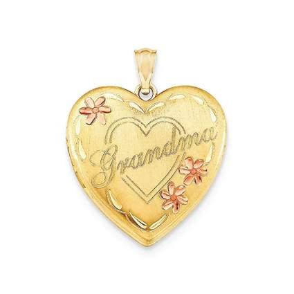 14k two color gold filled grandma heart locket