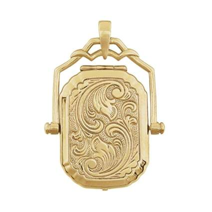 yellow gold square swivel locket