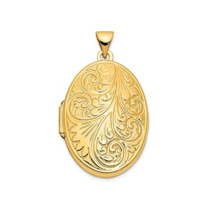 yellow gold scroll oval locket
