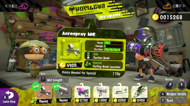 splatoon 2 aerospray, splatoon 2 weapons, splatoon 2 best weapons