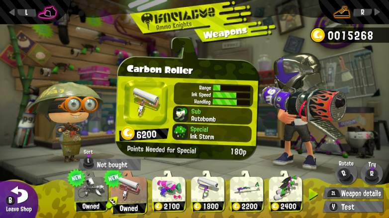 splatoon 2 carbon roller, splatoon 2 weapons, splatoon 2 best weapons