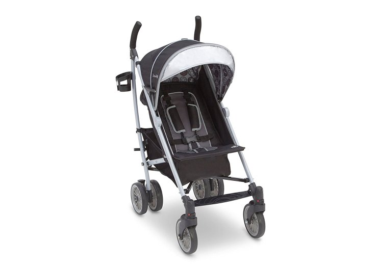13% off. This stroller is lightweight and great for travel. It has an extendable, European style canopy with a sun visor and peek-a-boo window for parents. The five point safety harness will keep your kid nice and secure, and the shoulder pads and multi-position reclining seat will keep him extra comfortable. There is also reflective material on the piping and safety harness for greater visibility at night. The rear canopy bag and side mesh bags give you plenty of space to pack in all of the essentials while you are on the go.