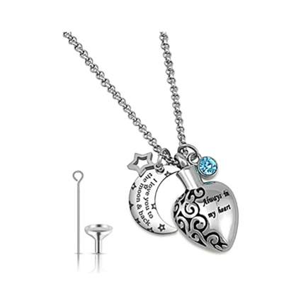 moon and heart urn pendant