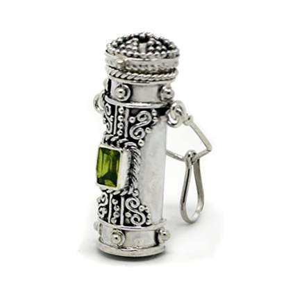 silver and peridot urn pendant