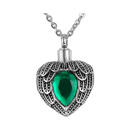 jeweled heart urn necklace