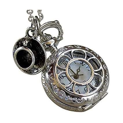 silvertone pocket watch necklace