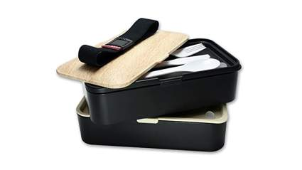 GRUB2GO plastic and wood two tier bento lunch box