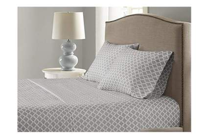 gray and white moisture wicking sheet set