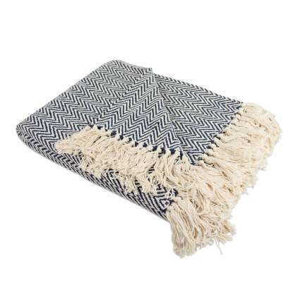 throw blanket, herringbone throw, chevron throw