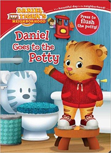 daniel goes to the potty, potty training books, best potty training books, daniel tiget potty training book, potty training books for boys, potty training books for girls, potty training books for kids, potty training board books