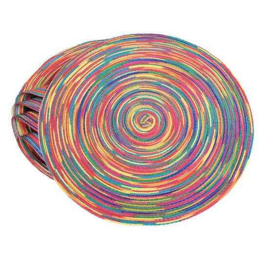 round placemats, rainbow placemats, bright placemats