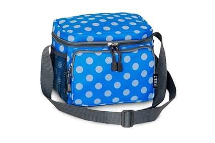 blue polka dot adult cooler lunch bag