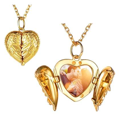 gold plated angel wing locket necklace