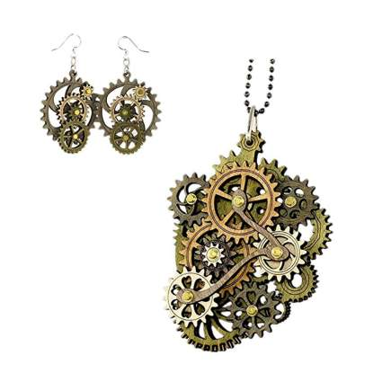kinetic gear necklace and earring set
