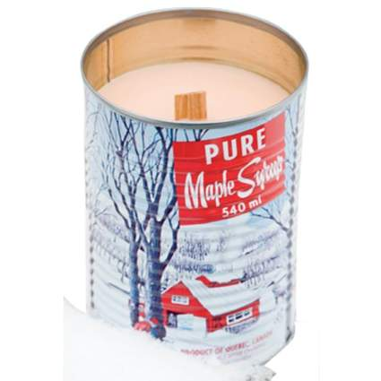 unique candles, maple syrup candles, wooden wick candles