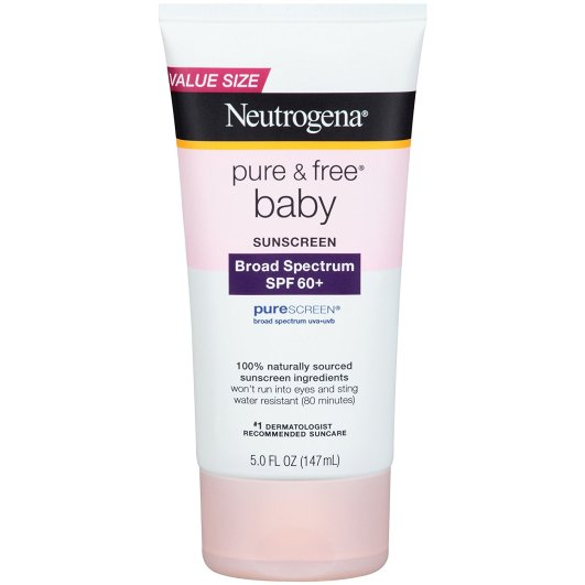 Neutrogena Pure & Free Baby Sunscreen Lotion Broad Spectrum, best sunscreen for babies, sunscreen for babies, safe sunscreen for babies, natural sunscreen for babies, baby sunscreen