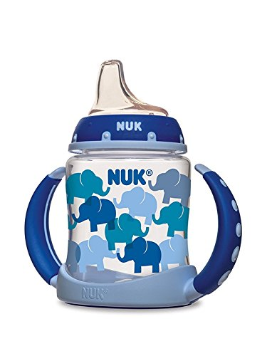 NUK Fashion Elephants Learner Cup in Boy Patterns, sippy cup with handles, bpa free sippy cups, best bpa free sippy cups, blue sippy cup, sippy cup for boys, nuk sippy cup, best sippy cup