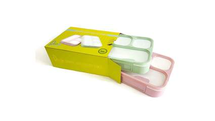 pink and green leakproof bento lunch box two pack