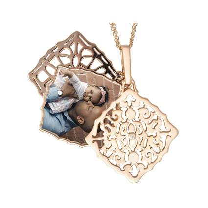 rose gold and diamond filligree stacked locket