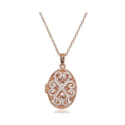 rose gold flashed filigree locket necklace