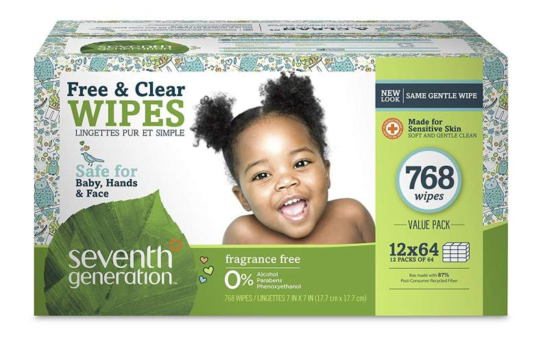 Seventh Generation Free & Clear Baby Wipes, natural baby wipes, best baby wipes, baby wipes, free and clear baby wipes