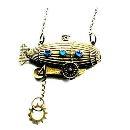 brass steampunk airship necklace